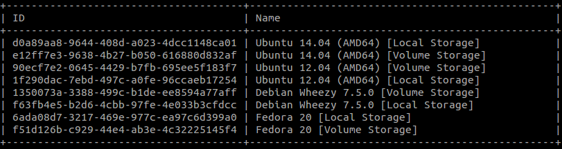 openstack image list